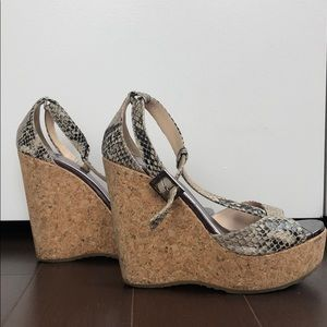 Jimmy Choo Snakeprint T-Strap Wedge